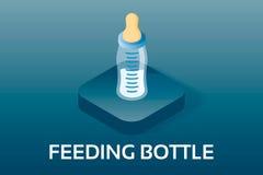 Eenvoudige Vector Isometrische Baby en PictogrammenPregnancyBabyjongen het voeden fles met melk Vectorsymbool in isometrisch s Stock Foto