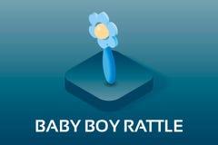 Eenvoudige Vector Isometrische Baby en PictogrammenPregnancyDe rammelaarstuk speelgoed van de babyjongen Het vectorpictogram v Stock Fotografie
