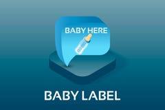 Eenvoudige Vector Isometrische Baby en PictogrammenPregnancyHet etiket van de babyjongen Baby hier Het vectorpictogram van de  Royalty-vrije Stock Afbeeldingen