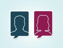 Eenvoudige vector mannelijke vrouwelijke avatar pictogrammen Stock Afbeeldingen