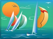 Eenvoudige vector van sporten sailerboat Royalty-vrije Stock Foto's