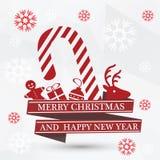Eenvoudige vector witte Kerstmiskaart Stock Foto's