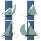 Eenvoudige vectorgroep schip met zeilen. Stock Foto