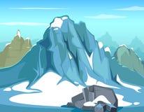 Eenvoudige vectorillustratie als achtergrond met rots Grote bergen en blauwe hemel, de horizon van de hellingsberg Royalty-vrije Stock Fotografie