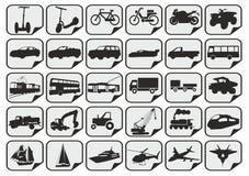 Eenvoudige vervoerpictogrammen Stock Foto's