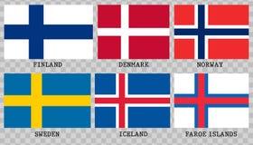 Eenvoudige vlaggen van Scandinavië vector illustratie