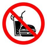 Eenvoudige, vlakke ` Geen het eten toegestaan `-teken/pictogram Rood teken, zwart silhouet van een drank en een hamburger royalty-vrije illustratie