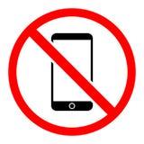 Eenvoudige, vlakke ` Geen telefoons toegestaan het teken/het pictogram van ` Rood en Zwarte Geïsoleerd op wit royalty-vrije illustratie