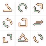 Eenvoudige, vlakke het ontwerp kringloopsymbolen van de pictogrammenstijl Royalty-vrije Stock Fotografie