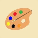Eenvoudige vlakke schilderspallet stock fotografie