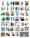 Eenvoudige Vlakke Sociale en Bedrijfspictogramreeks Stock Foto