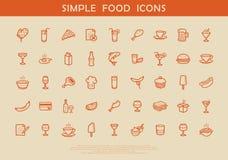 Eenvoudige voedselpictogrammen stock illustratie