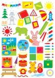 Eenvoudige voorwerpen voor kleuterschool Royalty-vrije Stock Afbeelding