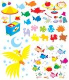 Eenvoudige voorwerpen voor kleuterschool vector illustratie