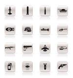 Eenvoudige wapen, wapens en oorlogspictogrammen Stock Foto's