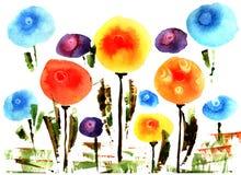 Eenvoudige waterverfbloemen Royalty-vrije Stock Foto's