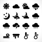 Eenvoudige weerpictogrammen geplaatst zwart vector illustratie