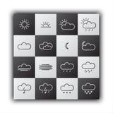 Eenvoudige weerpictogrammen, zwart-wit vlak ontwerp Royalty-vrije Stock Foto
