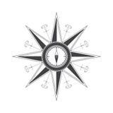 Eenvoudige windroos (de wind nam) toe in de stijl van historische kaarten. Stock Afbeeldingen