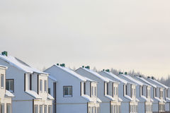 Eenvoudige witte cityscape in de winter Royalty-vrije Stock Afbeeldingen