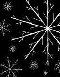 Eenvoudige Witte Sneeuwvlokken op Zwarte vector illustratie