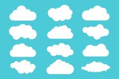 Eenvoudige wolkeninzameling Reeks verschillende wolken Pictogrammen en de reeks van de embleemwolk Royalty-vrije Stock Afbeeldingen