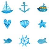 Eenvoudige zeevaartwaterverfpictogrammen: anker, schip, stervissen en shell Vectordieillustraties op witte achtergrond worden geï Stock Foto's