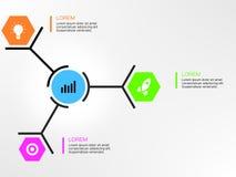 Eenvoudige Zeshoek en Cirkel Infographics Stock Afbeelding