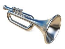 Eenvoudige zilveren 3D trompet Stock Foto