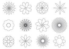 Eenvoudige zwart-witte geplaatste bloemenpictogrammen royalty-vrije illustratie