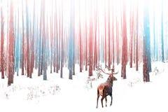 Eenzaam edel hertenmannetje in sneeuw de winterbeeld van de winter boskerstmis in roze en blauwe kleur royalty-vrije stock foto's