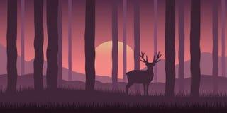 Eenzaam het wildrendier in het bos purpere aardlandschap royalty-vrije illustratie