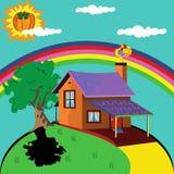 Eenzaam huis royalty-vrije illustratie