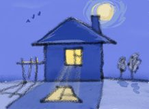 Eenzaam huis bij middernacht vector illustratie