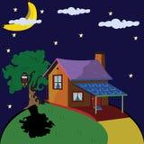 Eenzaam huis bij nacht stock illustratie