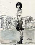 Eenzaam meisje in een stadsstraat royalty-vrije illustratie