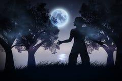 Eenzaam Nachtlandschap Royalty-vrije Stock Afbeeldingen
