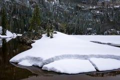 Eenzaam Pijnboommeer, Rocky Mountain National Park stock foto's