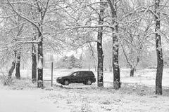 Eenzaam SUV in Sneeuwonweer Royalty-vrije Stock Foto