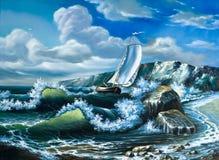 Eenzaam varend schip royalty-vrije illustratie