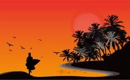 Eenzaam zonsondergangsilhouet vector illustratie