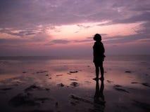 Eenzaamheid bij Zonsondergang Stock Foto