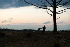 Eenzaamheid Eenzaam Meisje in een eenzame boom tegen de hemel Op de achtergrond van de zonsopgang Rood hart ter beschikking stock foto