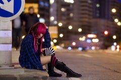 Eenzaamheid op de straat Stock Afbeeldingen