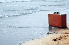 Eenzaamheid op het strand Stock Foto's