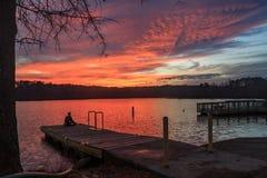 Eenzaamheid tijdens zonsondergang royalty-vrije stock afbeeldingen