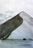 Eenzame berg tegen de hemel Royalty-vrije Stock Afbeeldingen