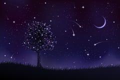 Eenzame boom bij nacht stock illustratie