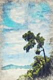 Eenzame Boom met berg in de Mist Digitaal Art Impasto Oil P stock foto