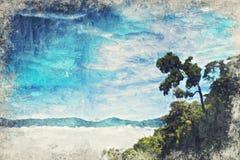Eenzame Boom met berg in de Mist Digitaal Art Impasto Oil P stock afbeeldingen